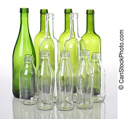 Glass bottles - Empty glass bottles for recycling on...