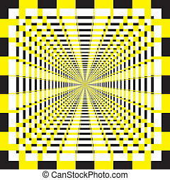 Abstract descending perspective yellow and black structure...