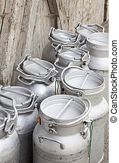 Vintage milk cans in rural Northern Italy