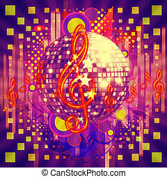 Disco ball abstract musical background - Illustration of...