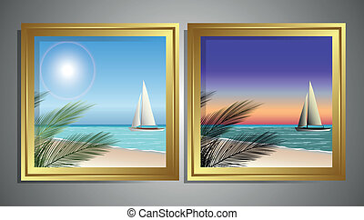 beach frame - beach sunset and in the morning the table