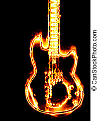 Flaming guitar - Electronic guitar in flames on a black...