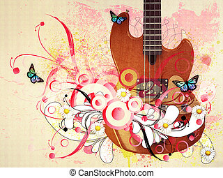 Floral guitar - Illustration of music guitar with florals...