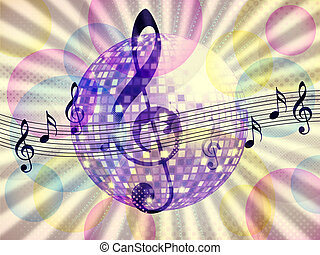 Funky music background with dico ball - Illustration of...