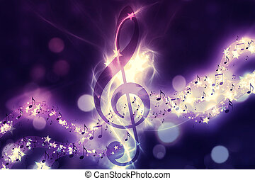 Glowing music background - Violin key, music note symbol...