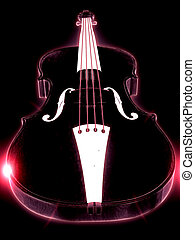 Glowing violin - Abstract glowing 3d violin over black...