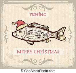Vintage Christmas image of Fishing with fish in Santa hat...