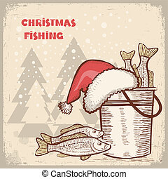 Christmas card.Drawing image of successful fishing on old background for text