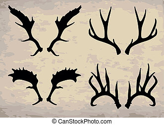 horn - vector deer horn in different ways