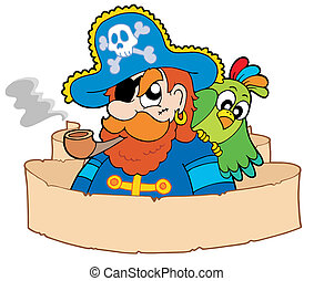 Pirate with parchment - vector illustration