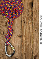 Rock Climbing equipment - Rock climbing gear with rope and...