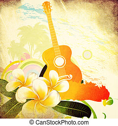 Grunge tropical background with guitar - Abstract grunge...