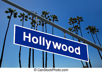 Hollywood California road sign on redlight with pam trees sky photo mount