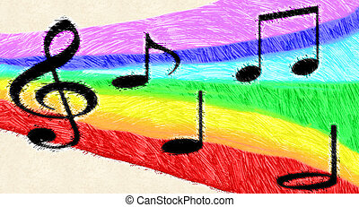 Music notes on rainbow - Illustration of music notes on a...