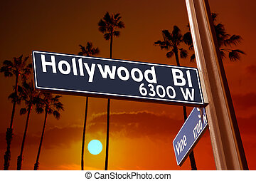 Hollywood Boulevard with Vine sign illustration on palm...