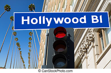 Hollywood Boulevard sign illustration on palm trees