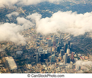 Houston Texas cityscape view from aerial view airplane