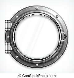 Porthole seascape on white - Boat round porthole seascape...