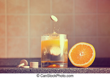 Artistic shot of vitamin C family, orange, tablet stack,...