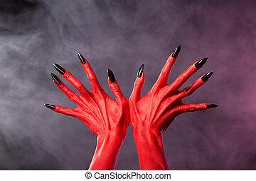 vermelho, diabo, mãos, afiado, pretas, pregos,...