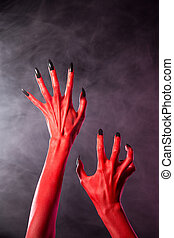 body-art, diabo, pregos, pretas, mãos, vermelho, extremo