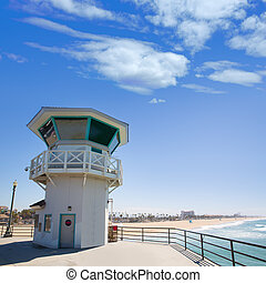 Huntington beach main lifeguard tower Surf City California -...