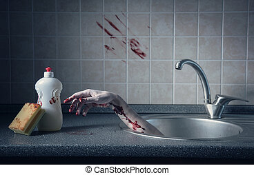 Bloody hand in kitchen sink, crime scene - Bloody hand in...