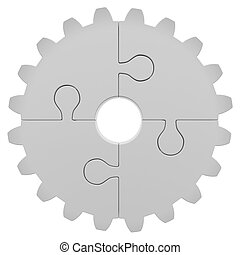 Gear consisting of puzzles Isolated render on a white...