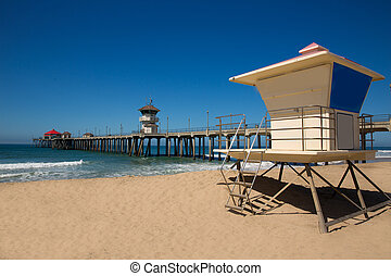 Huntington beach Pier Surf City USA with lifeguard tower in...