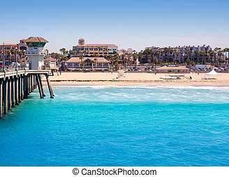 Huntington beach Surf City USA pier with lifeguard tower