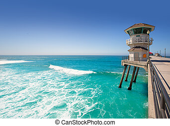 Huntington beach main lifeguard tower Surf City California...