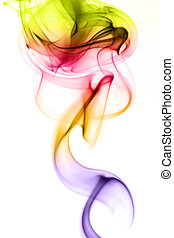 Multicolored smoke in white background