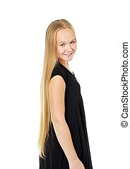 Pretty girl - Smyling pretty girl with long hair, isolated...