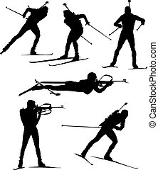 Biathlon Silhouette on white background