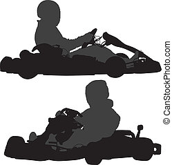 Go-Kart Silhouette on white background
