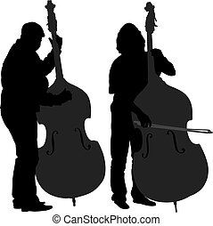 Bass Player Silhouette on white background