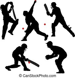 Cricket Sport Silhouette on white background
