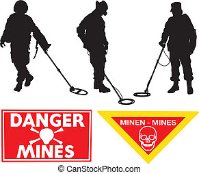 Military Sapper Silhouette Minefield warning sign on white...
