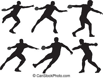 Discus Throw Silhouette on white background