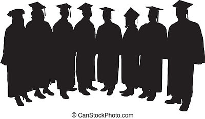 Graduates Silhouette on white background
