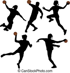 Handball Silhouette on white background