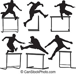 Hurdler Silhouette on white background