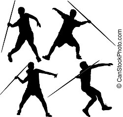 Javelin Thrower Silhouette on white background