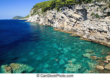 the Adriatic sea - The coast of a Croatian island in the...