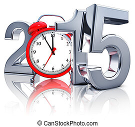2015 - high resolution rendering of a 2015 icon with a alarm...