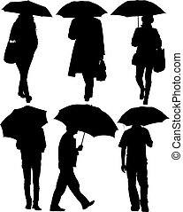 Man and Woman with an Umbrella Silhouette on white...