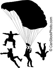Skydiving Silhouette on white background