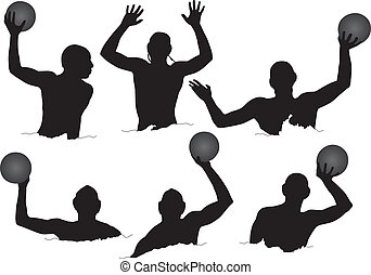 Water Polo Silhouette on white background