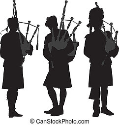 Bagpiper Silhouette on white background
