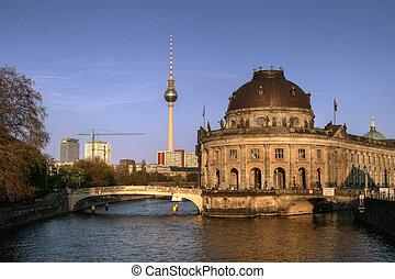 Historical building of Bodenmuseum in Berlin with Alexander...